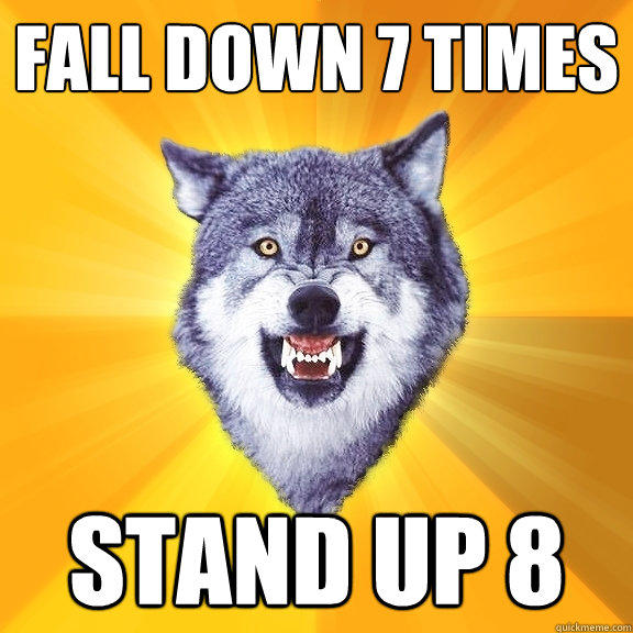 Fall down 7 times Stand up 8 - Fall down 7 times Stand up 8  Courage Wolf