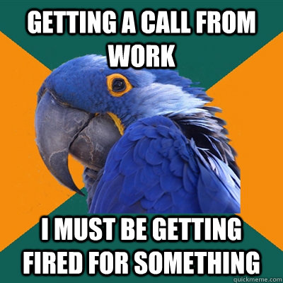 getting a call from work I must be getting fired for something - getting a call from work I must be getting fired for something  Paranoid Parrot