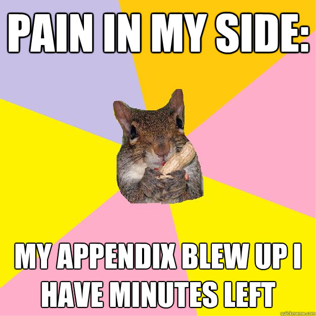 pain in my side: my appendix blew up i have minutes left  Hypochondriac Squirrel