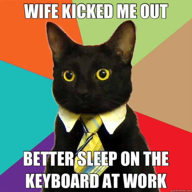 WIFE KICKED ME OUT BETTER SLEEP ON THE KEYBOARD AT WORK