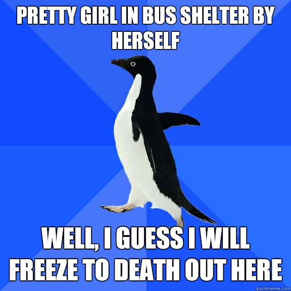 Pretty girl in bus shelter by herself Well, I guess I will freeze to death out here  - Pretty girl in bus shelter by herself Well, I guess I will freeze to death out here   Socially Awkward Penguin