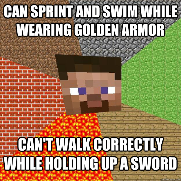 can sprint and swim while wearing golden armor can't walk correctly while holding up a sword - can sprint and swim while wearing golden armor can't walk correctly while holding up a sword  Minecraft