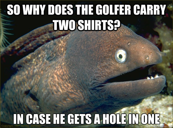 So why does the golfer carry two shirts? In case he gets a hole in one - So why does the golfer carry two shirts? In case he gets a hole in one  Bad Joke Eel