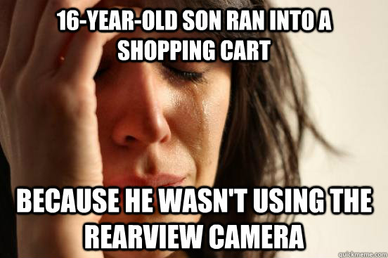 16-year-old son ran into a shopping cart Because he wasn't using the rearview camera - 16-year-old son ran into a shopping cart Because he wasn't using the rearview camera  First World Problems