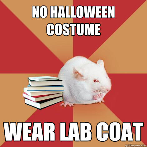 No halloween costume wear lab coat  Science Major Mouse