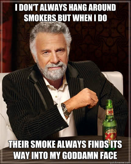 I DON'T ALWAYS HANG AROUND SMOKERS BUT WHEN I DO THEIR SMOKE ALWAYS FINDS ITS WAY INTO MY GODDAMN FACE - I DON'T ALWAYS HANG AROUND SMOKERS BUT WHEN I DO THEIR SMOKE ALWAYS FINDS ITS WAY INTO MY GODDAMN FACE  The Most Interesting Man In The World