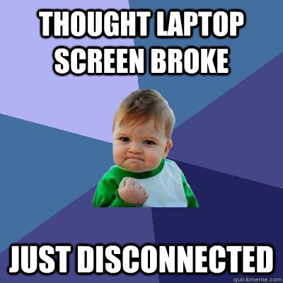 thought laptop screen broke just disconnected - thought laptop screen broke just disconnected  Success Kid