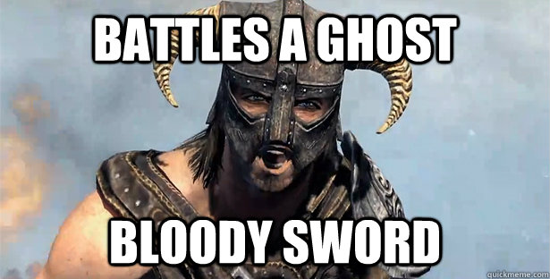 battles a ghost bloody sword