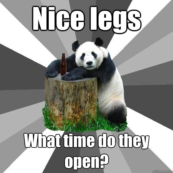 31a885be2740a42e906762dc3b3e3f8dfb622d7c47ee4c87730c37aa0804e5af nice legs what time do they open? pickup line panda quickmeme