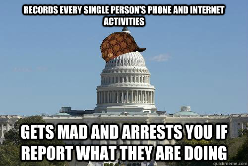 Records every single person's phone and internet activities Gets mad and arrests you if report what they are doing
