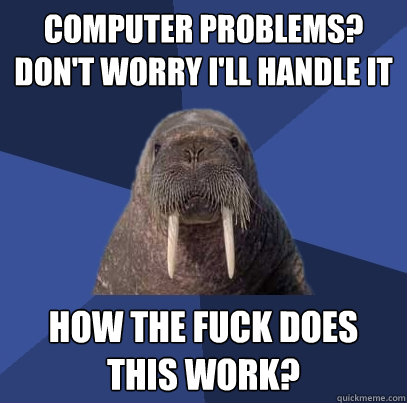 Computer problems? Don't worry i'll handle it how the fuck does this work? - Computer problems? Don't worry i'll handle it how the fuck does this work?  Web Developer Walrus