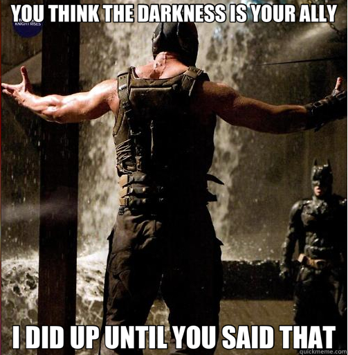 YOU THINK THE DARKNESS IS YOUR ALLY I DID UP UNTIL YOU SAID THAT