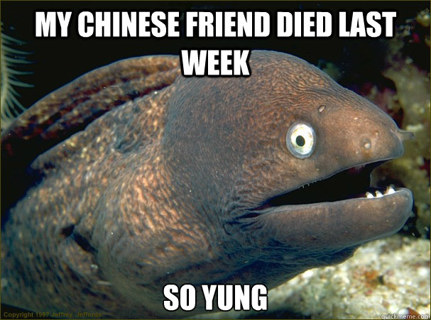 My Chinese friend died last week So yung - My Chinese friend died last week So yung  Bad Joke Eel