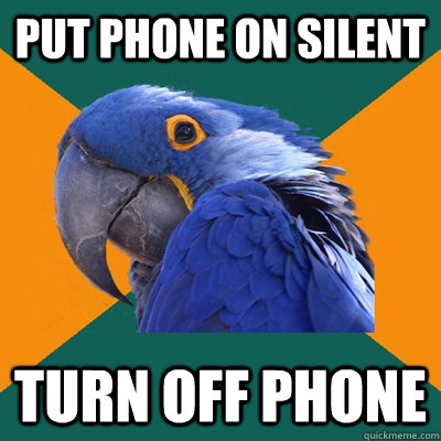 Put phone on silent turn off phone  - Put phone on silent turn off phone   Paranoid Parrot