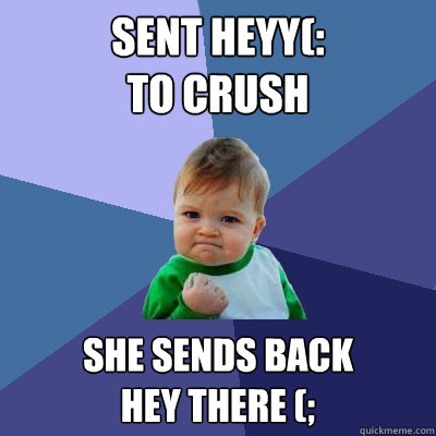 sent heyy(:  to crush She sends back  hey there (; - sent heyy(:  to crush She sends back  hey there (;  Success Kid