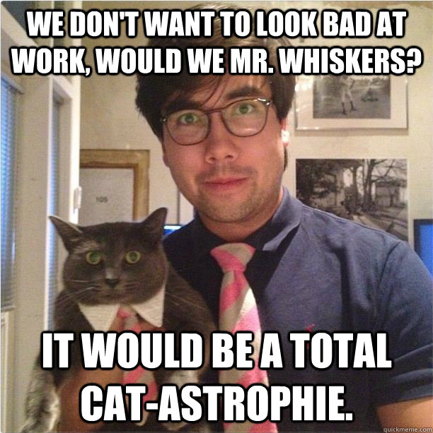 We don't want to look bad at work, would we Mr. whiskers? It would be a total cat-astrophie. - We don't want to look bad at work, would we Mr. whiskers? It would be a total cat-astrophie.  matching buisness partners