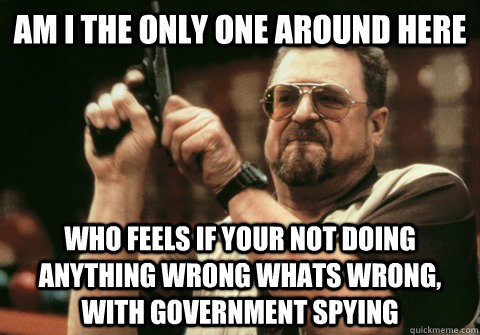 Am I the only one around here who feels if your not doing anything wrong whats wrong, with government spying - Am I the only one around here who feels if your not doing anything wrong whats wrong, with government spying  Am I the only one