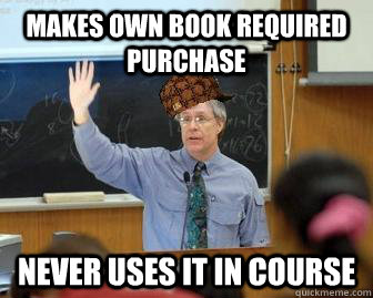 Makes own book required purchase  never uses it in course