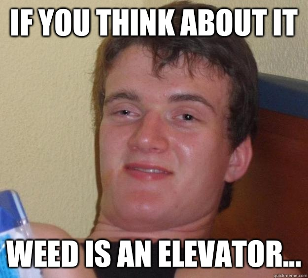 If you think about it  Weed is an elevator... - If you think about it  Weed is an elevator...  10 Guy