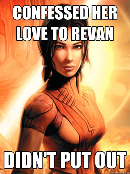 Confessed her love to Revan Didn't put out - Confessed her love to Revan Didn't put out  Bastila Shan