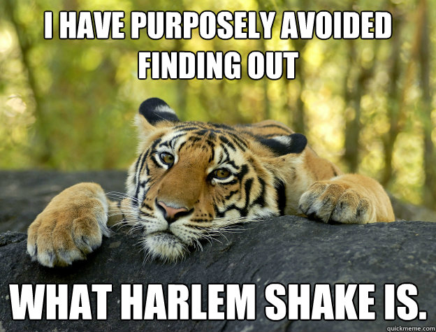 I have purposely avoided finding out what harlem shake is.  - I have purposely avoided finding out what harlem shake is.   Misc