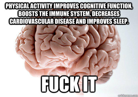 Physical activity improves cognitive function, boosts the immune system, decreases cardiovascular disease and improves sleep. FUCK IT - Physical activity improves cognitive function, boosts the immune system, decreases cardiovascular disease and improves sleep. FUCK IT  Scumbag Brain