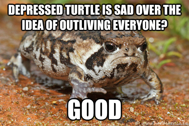 Depressed Turtle is sad over the idea of outliving everyone? Good  Negative Toad