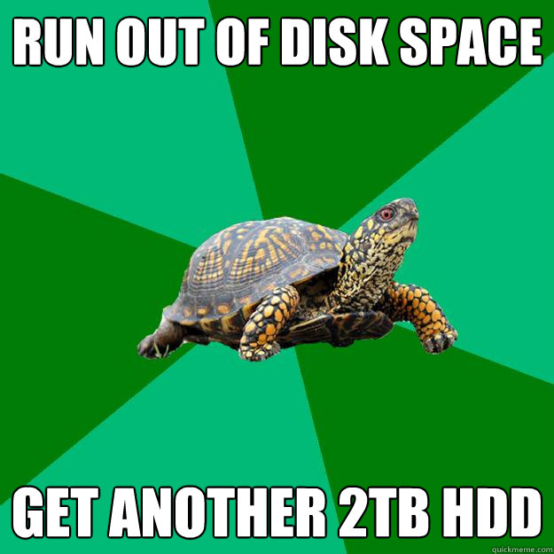 run out of disk space get another 2tb hdd  Torrenting Turtle