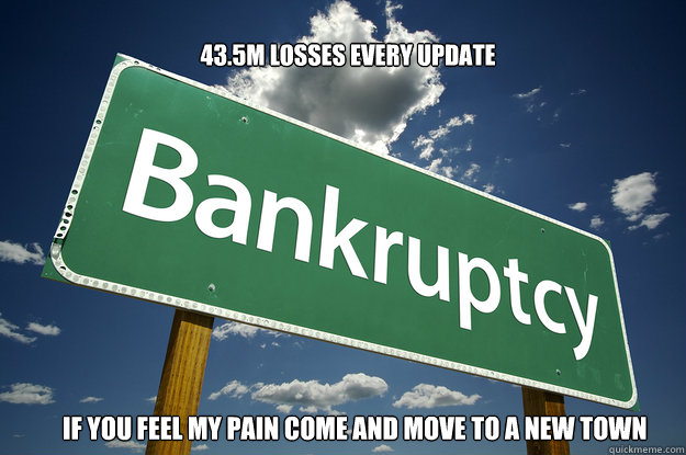 43.5M LOSSES EVERY UPDATE IF YOU FEEL MY PAIN COME AND MOVE TO A NEW TOWN            - 43.5M LOSSES EVERY UPDATE IF YOU FEEL MY PAIN COME AND MOVE TO A NEW TOWN             BANKRUPT