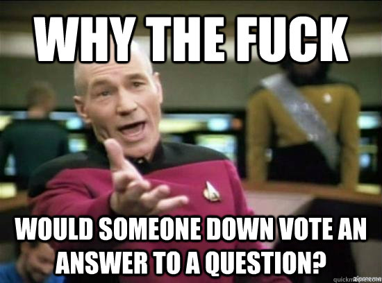 Why the fuck would someone down vote an answer to a question? - Why the fuck would someone down vote an answer to a question?  Annoyed Picard HD