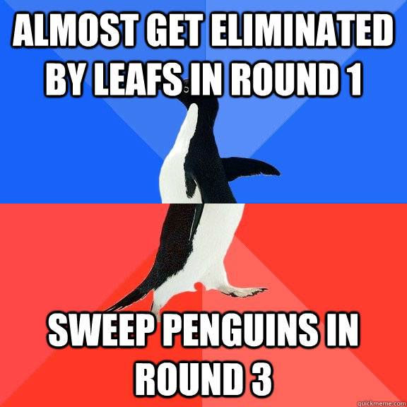 Almost get eliminated by Leafs in Round 1 Sweep Penguins in Round 3 - Almost get eliminated by Leafs in Round 1 Sweep Penguins in Round 3  Socially Awkward Awesome Penguin