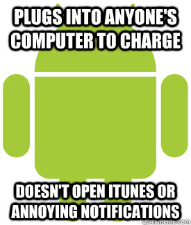 Plugs into anyone's computer to charge doesn't open itunes or annoying notifications - Plugs into anyone's computer to charge doesn't open itunes or annoying notifications  Android