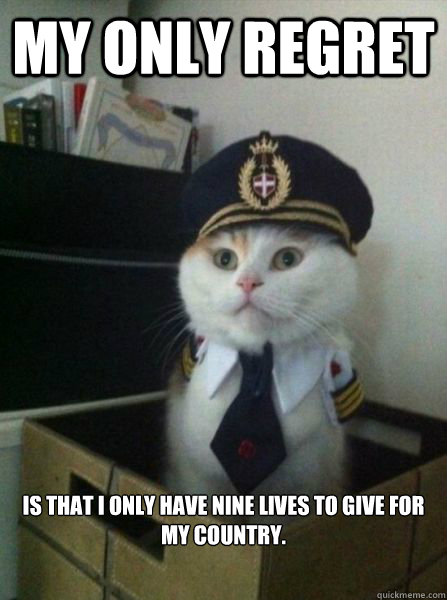 My only regret is that I only have nine lives to give for my country.