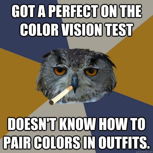 Got a perfect on the color vision test Doesn't know how to pair colors in outfits. - Got a perfect on the color vision test Doesn't know how to pair colors in outfits.  Art Student Owl