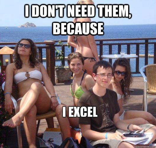 I don't need them, because I Excel - I don't need them, because I Excel  Priority Peter