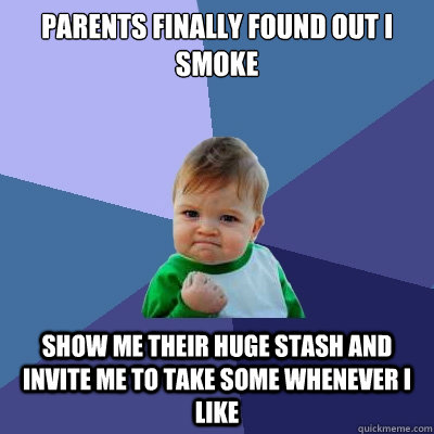 parents finally found out i smoke show me their huge stash and invite me to take some whenever I like  Success Kid