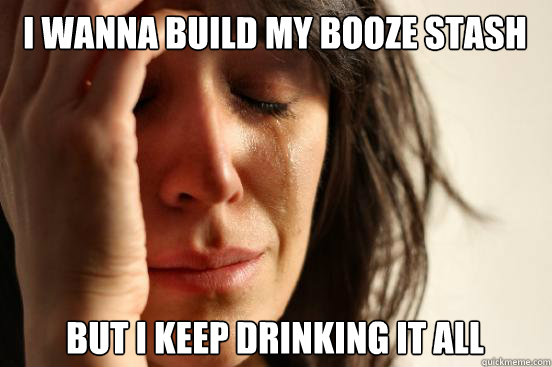 I wanna build my booze stash but i keep drinking it all - I wanna build my booze stash but i keep drinking it all  First World Problems