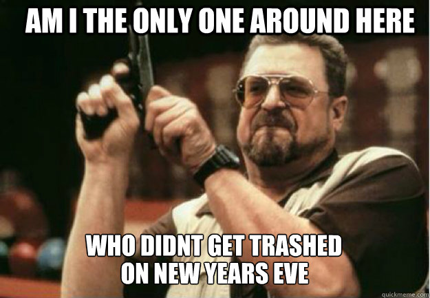 AM I THE ONLY ONE AROUND HERE who didnt get trashed  on new years eve