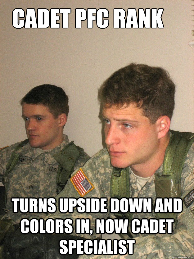 cadet pfc rank Turns upside down and colors in, now cadet specialist