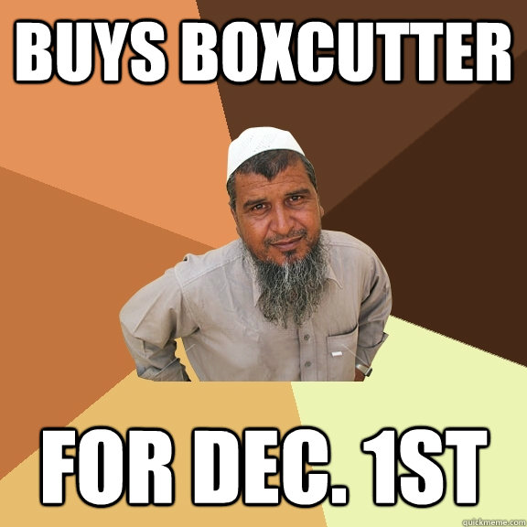BuYs Boxcutter For Dec. 1st - BuYs Boxcutter For Dec. 1st  Ordinary Muslim Man