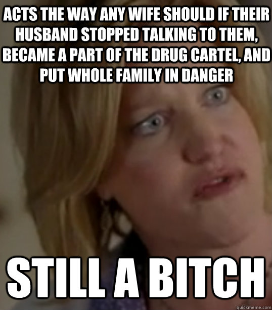 Acts the way any wife should if their husband stopped talking to them, became a part of the drug cartel, and put whole family in danger still a bitch - Acts the way any wife should if their husband stopped talking to them, became a part of the drug cartel, and put whole family in danger still a bitch  Breaking Bad Skylar