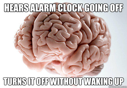 Hears alarm clock going off turns it off without waking up - Hears alarm clock going off turns it off without waking up  Scumbag Brain