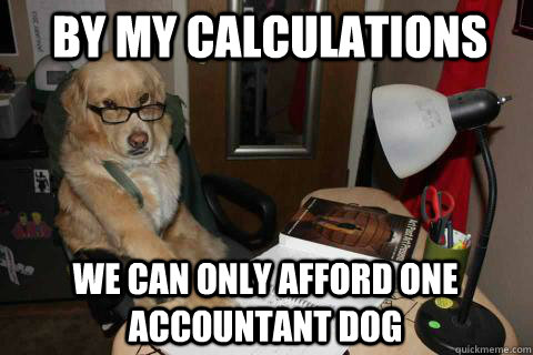 By my calculations We can only afford one accountant dog