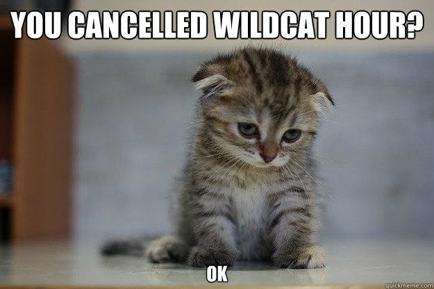 you cancelled wildcat hour? ok  Sad Kitten