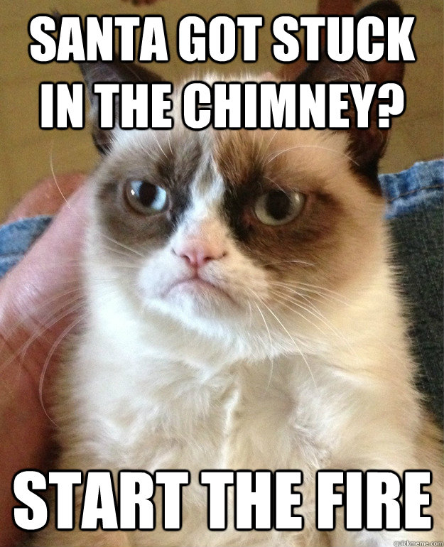Santa got stuck in the chimney? Start the fire  Grump Cat