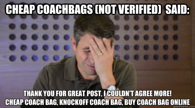 cheap coachbags (not verified)  said: Thank you for great post, I couldn't agree more! cheap coach bag, knockoff coach bag, buy coach bag online - cheap coachbags (not verified)  said: Thank you for great post, I couldn't agree more! cheap coach bag, knockoff coach bag, buy coach bag online  Facepalm Matt Cutts