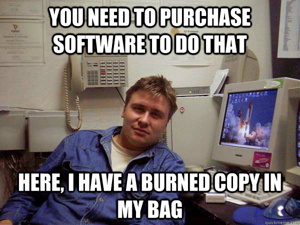 You need to purchase software to do that here, i have a burned copy in my bag