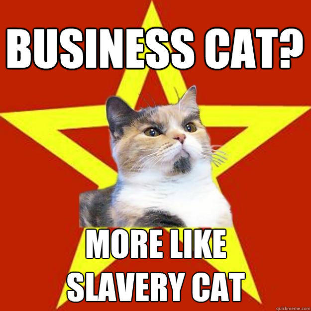 business cat? more like slavery cat