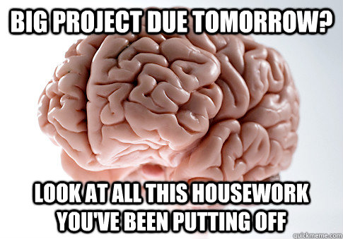 Big project due tomorrow? Look at all this housework you've been putting off - Big project due tomorrow? Look at all this housework you've been putting off  Scumbag Brain