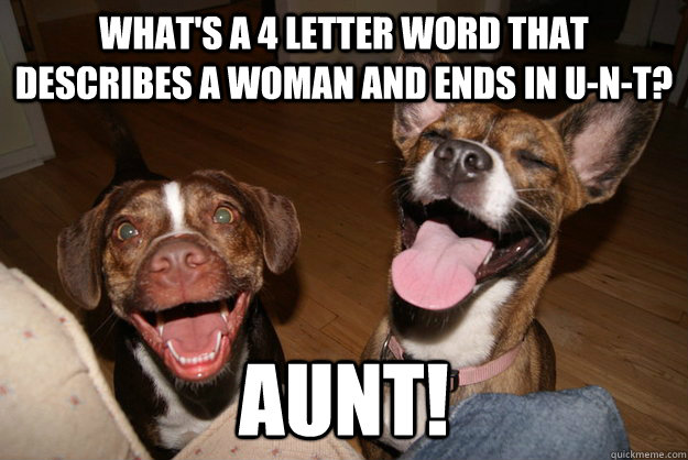 What's a 4 letter word that describes a woman and ends in u-n-t? Aunt!